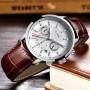 Мужские наручные часы LIGE 9866 Белые с коричневым ремешком
