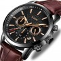 Мужские наручные часы LIGE 9866 Чёрные с коричневым ремешком