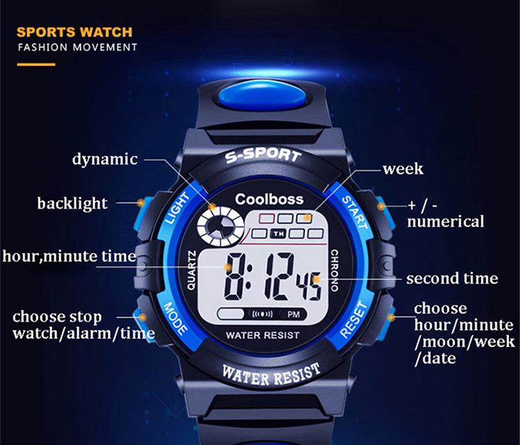 Детские наручные часы Coobos с подсветкой
