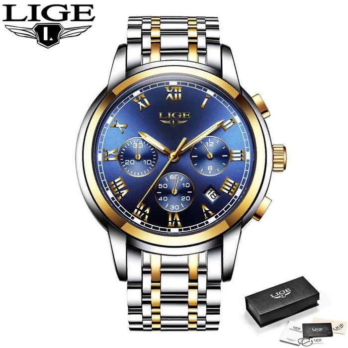 Мужские наручные часы LIGE 9810 Золотисто-синие