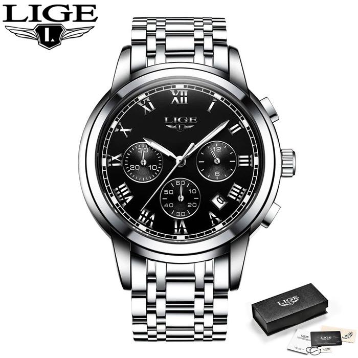 Мужские наручные часы LIGE 9810 Серебристо-чёрные