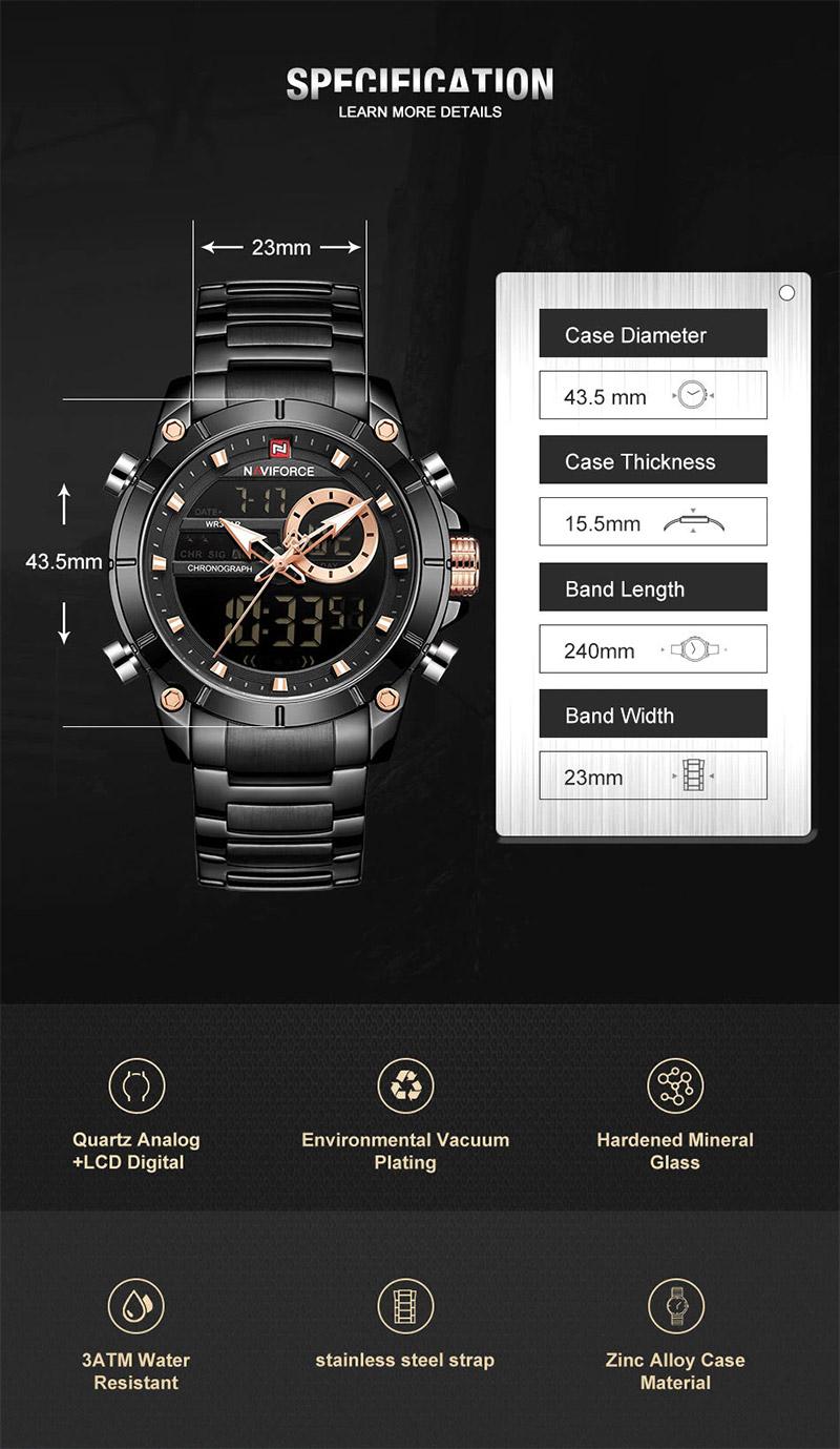Наручные часы NAVIFORCE 9163 Чёрные